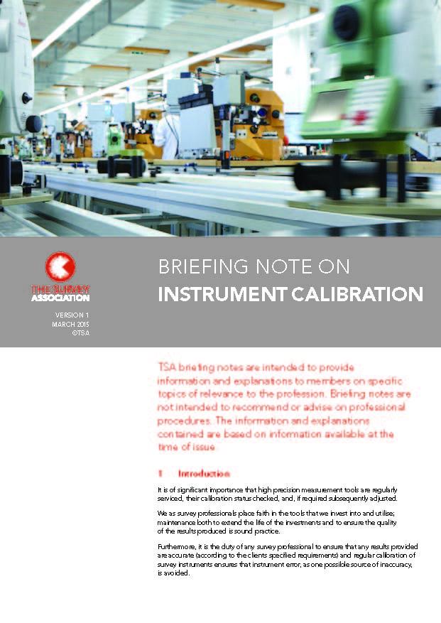 New TSA Briefing Note on Instrument Calibration