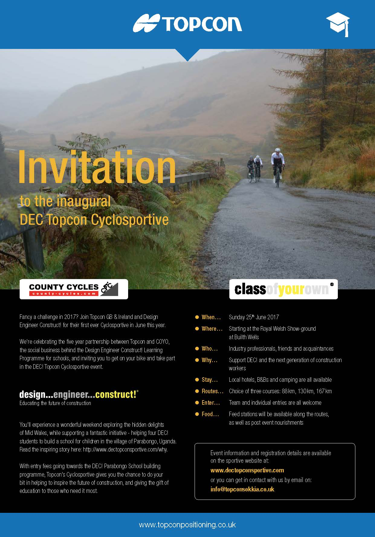 Inaugural DEC Topcon Cyclesportive, Sunday 25th June 2017